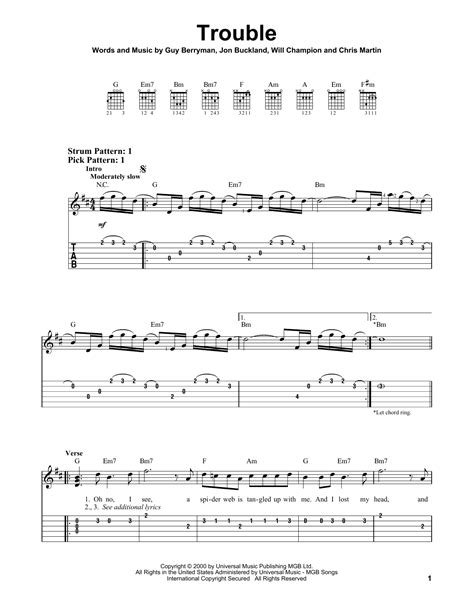 coldplay trouble lyrics coldplay trouble sheet music