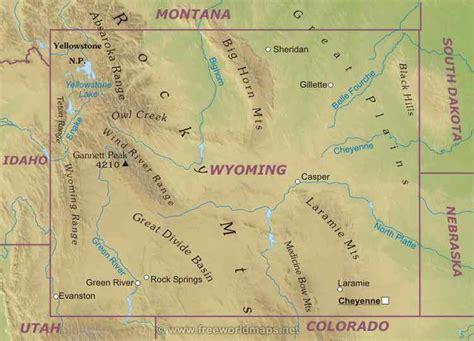 physical map of wyoming wyoming liberapedia