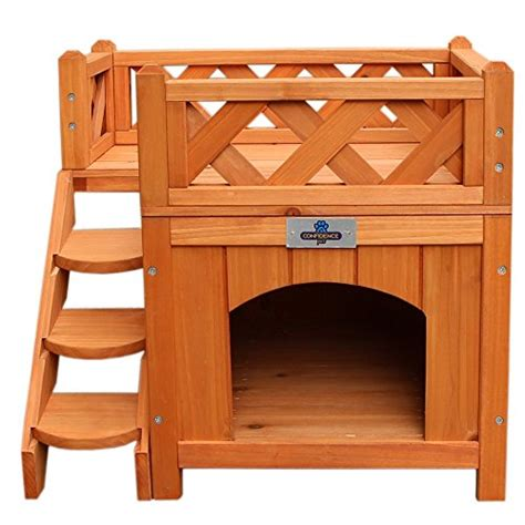 dog house with balcony confidence pet wooden dog house kennel with balcony k9 crates