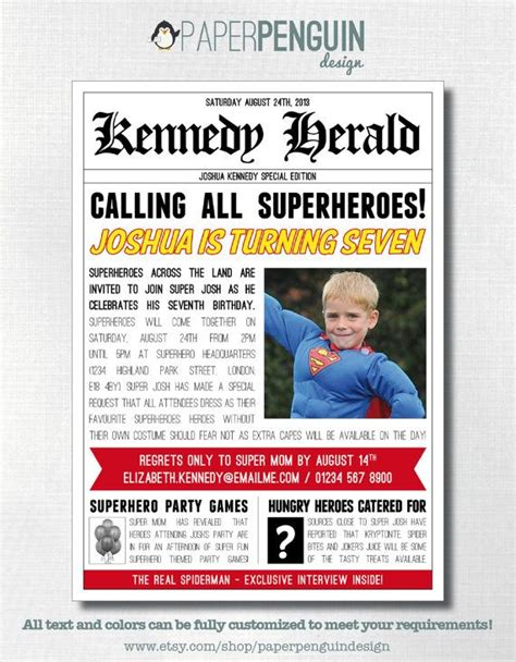 newspaper theme invitation party invitation for a superhero themed party superhero