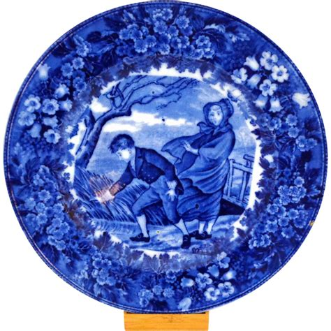 blue plates antique wedgwood month of march flow blue plate from
