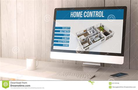 desktop computer home automation stock illustration