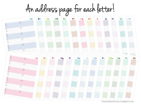Html Pattern For Address   clean life and home new printable address book with tabs