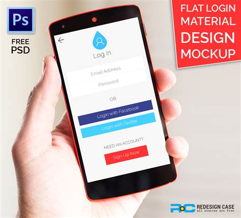 flat design app mockup flat login material design ui mockup on behance