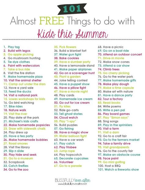 101 almost free things to do with this summer free