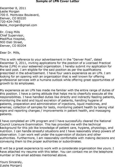 Resume Cover Letter Nursing by Lpn Cover Letter Sles The Best Letter Sle