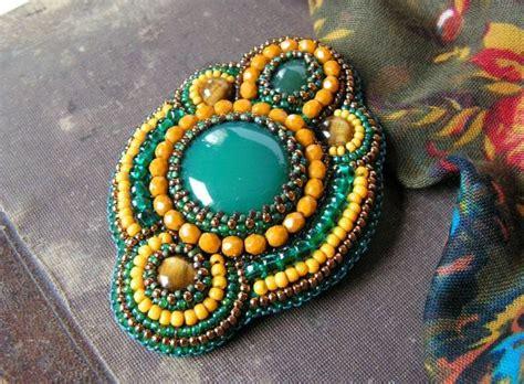 beadwork brooch bead embroidery brooch beadwork brooch green yellow copper