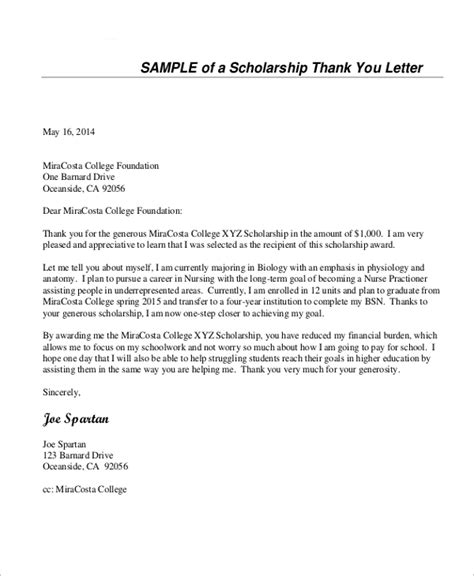 Scholarship Thank You Letter Template Word Sle Thank You Letter For Scholarship 7 Exles In Word Pdf