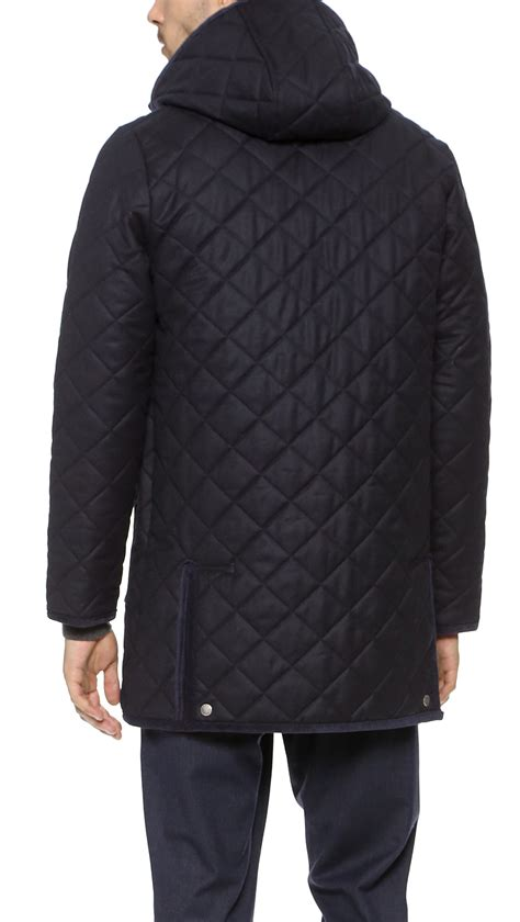 Mackintosh Quilted Jacket by Mackintosh Waverly Quilted Coat In Blue For Navy Lyst