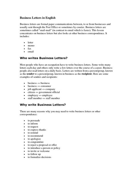 exle of formal letter in english english business letter sle the letter sle
