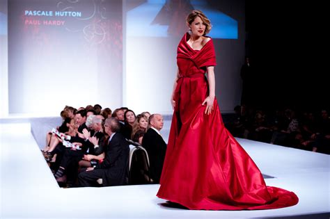 fashion has heart charity extravaganza file pascale hutton wearing paul hardy heart and stroke