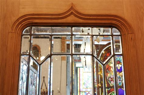 Stained Glass Door For Sale Magnificent 40 Salvaged Exterior Oak Door With Beveled Leaded Glass Ned52 For Sale Antiques