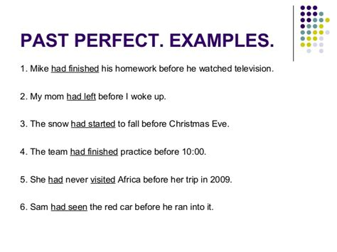 past perfect tense sentence pattern past perfect