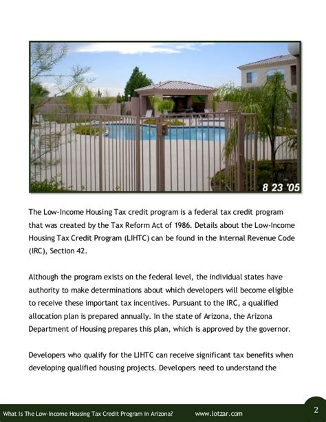 section 42 tax credit program wha is the low income housing tax credit program in arizona