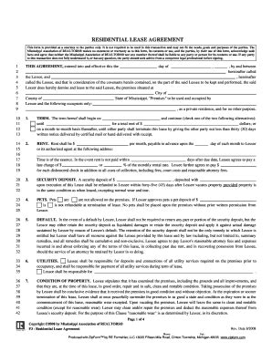 free mississippi residential lease agreement form pdf mississippi lease agreement fill online printable