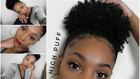 natural hairstyle awkward length high puff on type 4 natural hair youtube