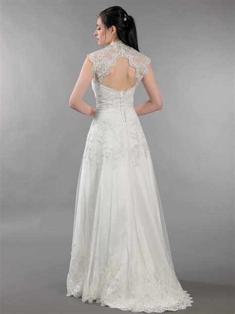 ivory strapless dot lace wedding dress with keyhole back