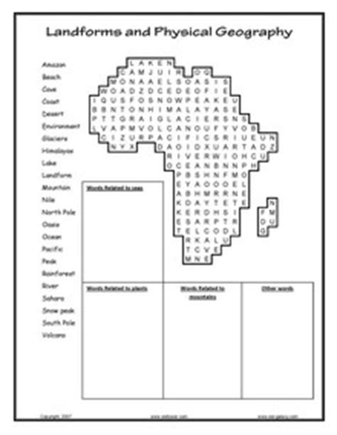 printable word search geography physical geography worksheets worksheets releaseboard