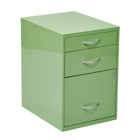 ospdesigns 22 in 3 drawer metal file cabinet in green