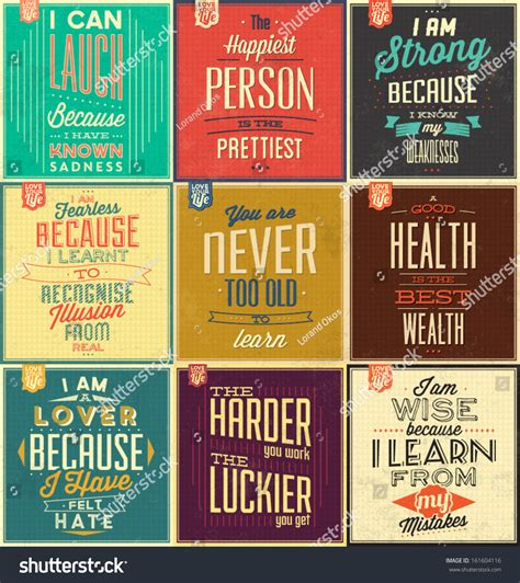 set vintage typographic backgrounds motivational quotes