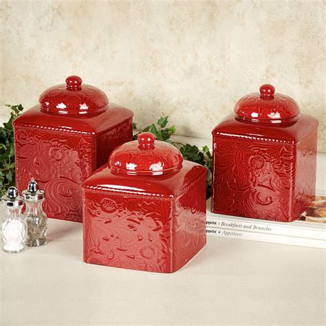 Red Canister Sets Kitchen by Savannah Red Kitchen Canister Set