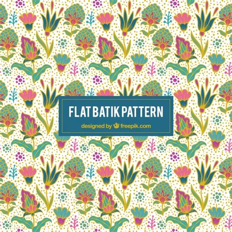 batik pattern graphic pretty colorful floral background in batik style vector