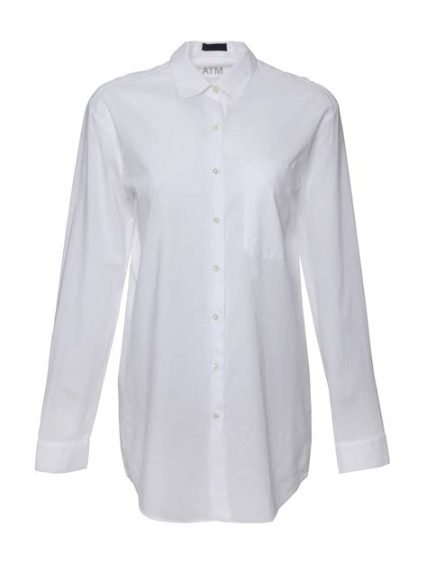 Button Cotton Shirt atm sleeve cotton button shirt in white lyst
