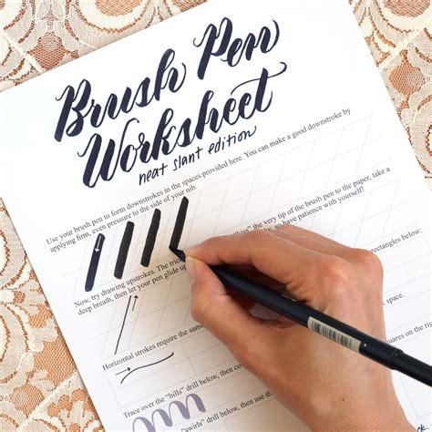 Writing Brush Pen free brush pen calligraphy worksheet neat slant edition