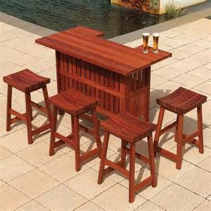 Outdoor Patio Bar Table Jarrah Outdoor Patio Bar Set At Hayneedle