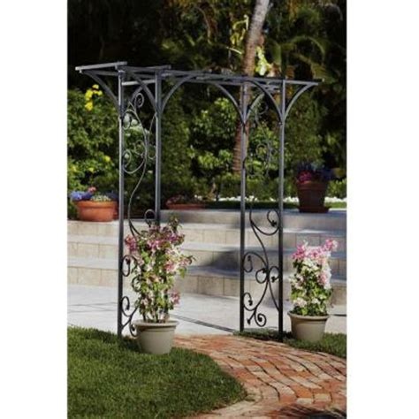 home decorators collection black garden arbor with vines