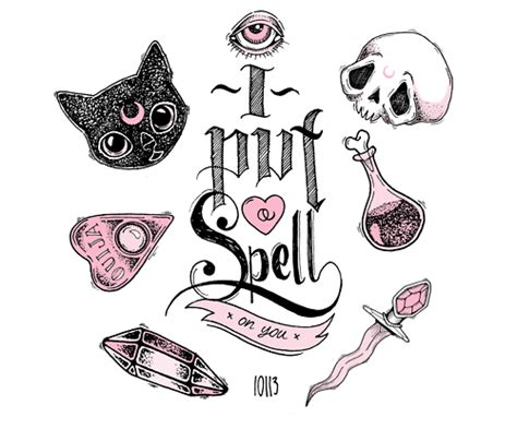 skulls cute kawaii eye pink crystal spells witchcraft