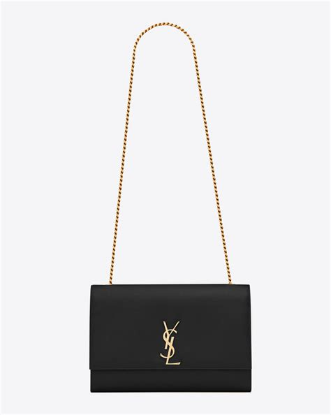 saint laurent classic large kate satchel  black grain de