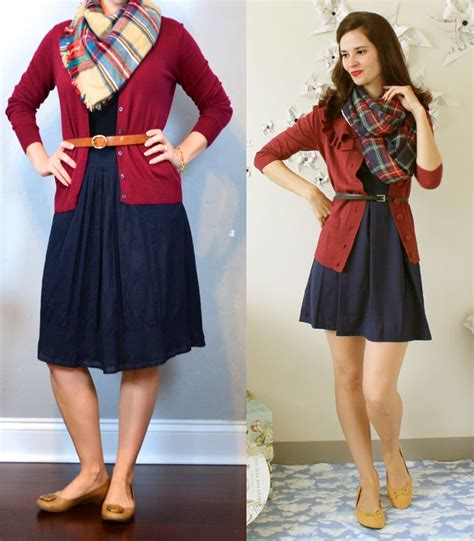 post burgundy cardigan navy a line midi skirt
