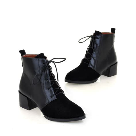 lace up ankle boots low heel boot hto