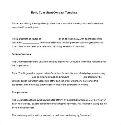 12 Consultant Contract Templates Free Word Pdf Documents Download Free Premium Templates Simple Consulting Template