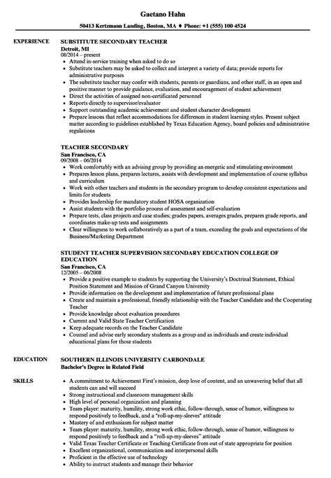 Secondary Resume by Secondary Resume Sles Velvet