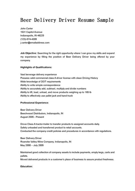 truck driver resume example driver resume doc truck driver resume