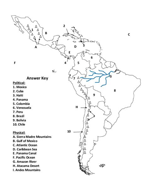 south america map answers map review key