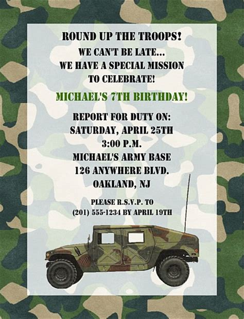 free camo birthday invite card template camouflage army birthday invitations