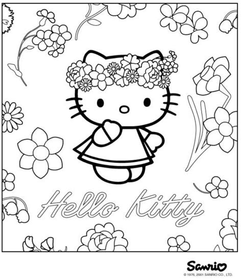 hello kitty with flowers coloring pages sweet hello kitty with flower coloring pages gt gt disney