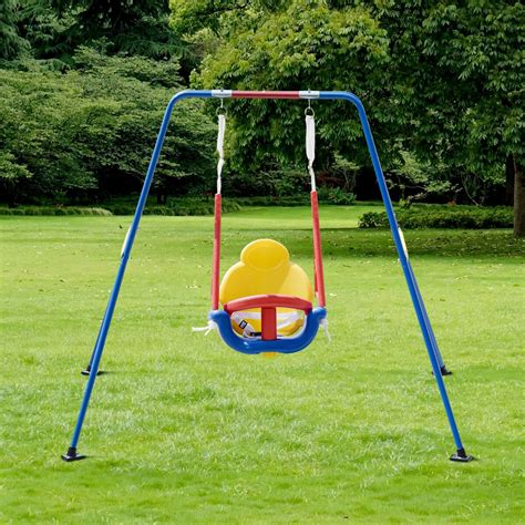 children swing costway costway a frame 3 in 1 toddler swing set