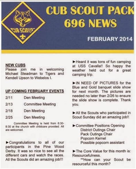 Cub Scout Newsletter Template Car Interior Design Cub Scout Newsletter Template