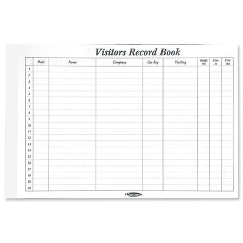 visitor log book template buy concord cd14p white 50 sheet refill for visitors book