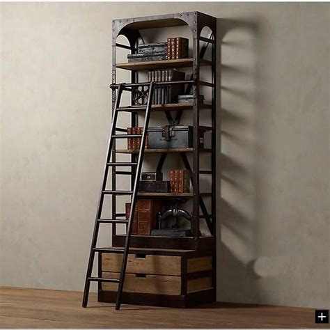 american loft style wrought iron shelves with ladder
