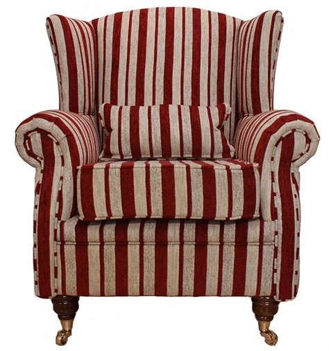 sofa gestreift wing chair fireside high back armchair ruby stripe