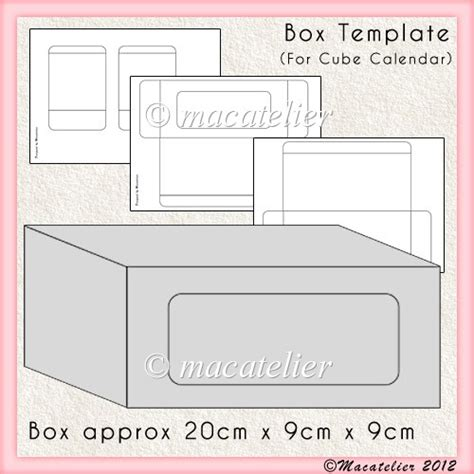 box template cube calendar 163 2 50 instant card making