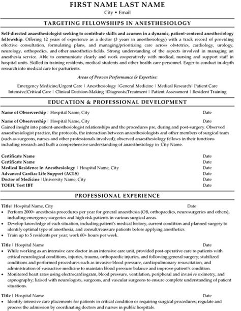 Curriculum Vitae Nursing Template by Anesthesiologist Resume Sample Amp Template