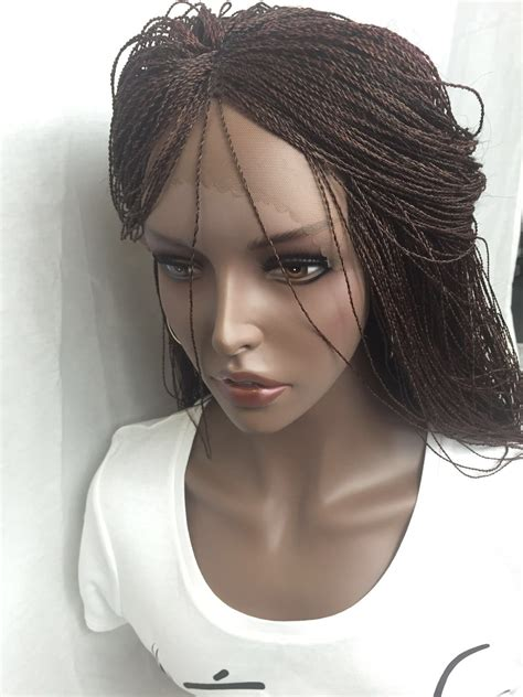 micro braided wigs micro million hand braided lace front wig red blonde