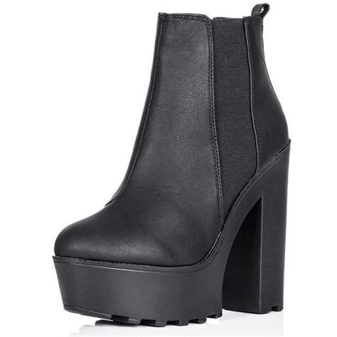 black high block heel ankle boots parisia fashion
