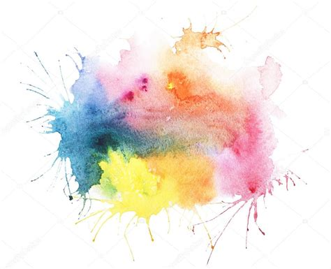 abstract watercolor aquarelle blot colorful paint splatter stain stock photo